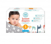 Honest Baby Nappies, Club Box, Pandas & Multi Coloured Giraffes, Size 1, 80 Count