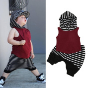 TRENDINAO Toddler Boys Clothes Hooded Vest Tops+Shorts Pants Outfits Set