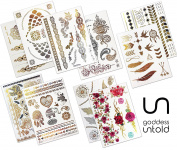 10 Premium Design Large Sheet Pack Goddess Untold Pack Temporary Metallic Flash Tattoos Water-Proof Over 200 designs- Gold, Silver , Black and Colour for Festivals, Beach, Parties