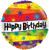 Single Source Party Supplies - 46cm Birthday Lines Mylar Foil Balloon - Pack of 5
