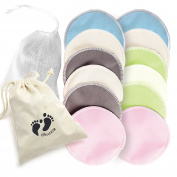 12 pack Premium Quality, Organic Bamboo Nursing Washable Breast Pads – includes Free Laundry Bag Soft ,Protective & Highly Absorbent for Breastfeeding Mothers