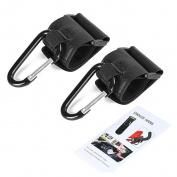 Highdas Buggy Clips. Hook Your Shopping & Bags Safely on Your Pushchair or Stroller. Clip your handbag or baby change bag to your Pram. Universal fit, Black, 2 pack