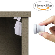 YOOFOSS Child Safety Cupboard Locks Baby Magnetic Cabinet Locks - No Tools Or Screws Needed - 8 Locks + 2 Key