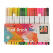 GC Quill Dual Tip Brush Pen Art Markers Set with Fineliner Tip 0.4, Non-Toxic Watercolour for Painting, Colouring, Journaling, Lettering & Calligraphy, 36 per Pack