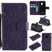 Moto G4 Play Case, Dfly Premium Soft PU Leather Embossed Mandala Design Kickstand Function Card Slots Holder Slim Flip Wallet Cover for Motorola Moto G4 Play, Purple