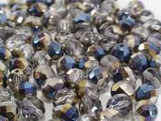 20 pcs 8 mm Czech Fire Polished Faceted Round Glass Bead, Clear with Metallic Grey Blue Coating