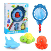 Squirters Bath Toy , Liangxiang Floating Bath Toy with Water Temperature Test function Bathroom Pool Toy Set with Fishing Net for Kids