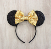 MINNIE MOUSE EARS Headband Golden Gold Yellow Sparkle Sequin Glitter Silver Bow Fits Children and Adults
