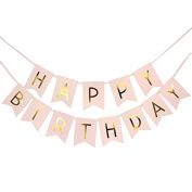 1 Piece Pink Happy Birthday Party Banner Bunting Decoration