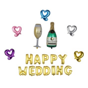 "Nina 100cm champagne theme party balloons with 41cm letter ""HAPPY WEDDING"" balloons -19PCS"