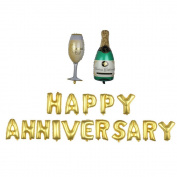 "Nina 100cm champagne theme party balloons with 41cm letter ""HAPPY ANNIVERSARY"" balloons - 18PCS"