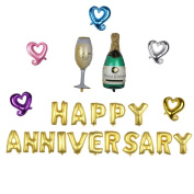 "Nina 100cm champagne theme party balloons with 41cm letter ""HAPPY ANNIVERSARY"" balloons - 23PCS"