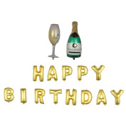 "Nina 100cm champagne theme party balloons with 41cm letter ""HAPPY BIRTHDAY"" balloons - 15PCS"