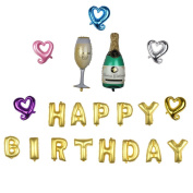 "Nina 100cm champagne theme party balloons with 41cm letter ""HAPPY BIRTHDAY"" balloons - 20PCS"