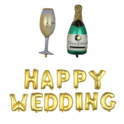"Nina 100cm champagne theme party balloons with 41cm letter ""HAPPY WEDDING"" balloons - 14PCS"