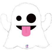 Betallic Giant Emoticon Emoji Tongue Out Ghost 70cm Foil Balloon, White