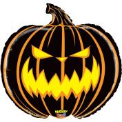 Betallic Giant Scary Halloween Jack-O-Lantern 70cm Foil Balloon, Black Orange