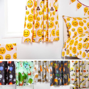 Children's Polycotton Curtain Pair with Tie Backs - 170cm x 180cm Emoji Girl Design