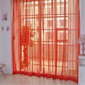 Yinew Solid Colour Transparent Curtains 100*200cm Red