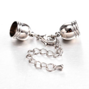 Kumihimo End Caps with Lobster Claw Clasp & Extention Chain, 5 Sets, Hole Size 8.5mm