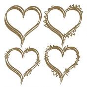 Heart Doodle Frames Laser Cut Chipboard - 4 piece set