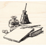 Writer's Block Rubber Stamp Blank Paper, Book, Pen & Ink