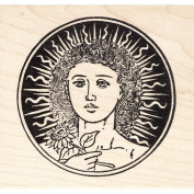 Noon Woman with Sun Rubber Stamp