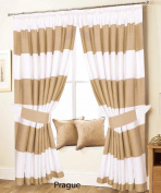 """Love2Sleep PAIR OF PENCIL PLEAT LINED THERMAL STRIPED CURTAINS WITH TIEBACKS –WHITE AND BEIGE – 46"""" X 72"""" –PRAGUE"""