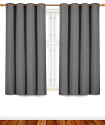 Blackout Curtains Ready Made Eyelet Curtain For Bedroom Living-Room 120cm Width x 140cm Drop, set of 2 pieces