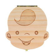 Tooth box,Clode® Lovely Baby Tooth Box Wooden Baby Save Milk Teeth Lanugo Hair Wood Storage Box Creative Kids Boy Girl Image