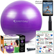 EXERCISE BALL - GYM QUALITY | Anti-Burst, Non-Slip Exercise Balls | Fast Start Stability Ball Workout Guide | Use for Yoga, Pilates, CrossFit, Birthing Ball, Desk Chair | + Free eBook
