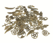 100g Exceedingly Assorted Newest Fasion Punk Steampunk Charm Pendant Connector for Necklace Bracelet Anklet DIY Crafting Accessories(Antique Bronze) By Alimitopia