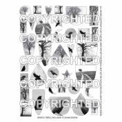 Nunn Design Transfer Sheet, Assorted Birds and Trees, 1/2 Sheet, Black and White