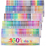 Gel Pens Colours Set, Reaeon 160 Unique Coloured Gel Pen for Adults Colouring Books Drawing Art Markers