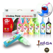 Lasten Fluorescent Window Paint Kit, Permanent Glass Paint, Superior Stained Glass Paint, Non-toxic Art Paint for Glass, Ceramics, and Stained Gallery Glass Windows Paint