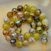 "AD Beads Faceted Fire Agate Gemstone Round Loose Beads 15.5"" Strand"
