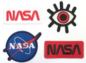 Super save pack set patch of Iron on Patches #5, NASA Patch Logo#1, NASA Patch Logo#2, NASA Patch Logo#3, Eye Eyeball Tattoo Patch Embroidered Iron On / Sew On Patches for Jeans, clothing by BossBee