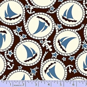 1 Yard - Blue Sailboats & Anchors on Brown Cotton Fabric - by Judie Rothermel (Great for Quilting, Sewing, Craft Projects, Throw Pillows & More) 1 Yard x 110cm