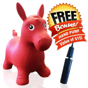 ToysOpoly Inflatable Red Horse Bouncer - Cutest Ride - on Bouncy Animal Hopper for Kids with Eco-Friendly Rubber